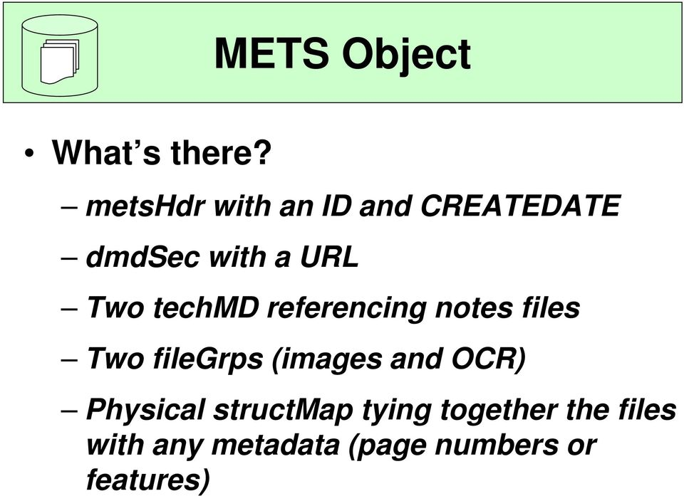 techmd referencing notes files Two filegrps (images and