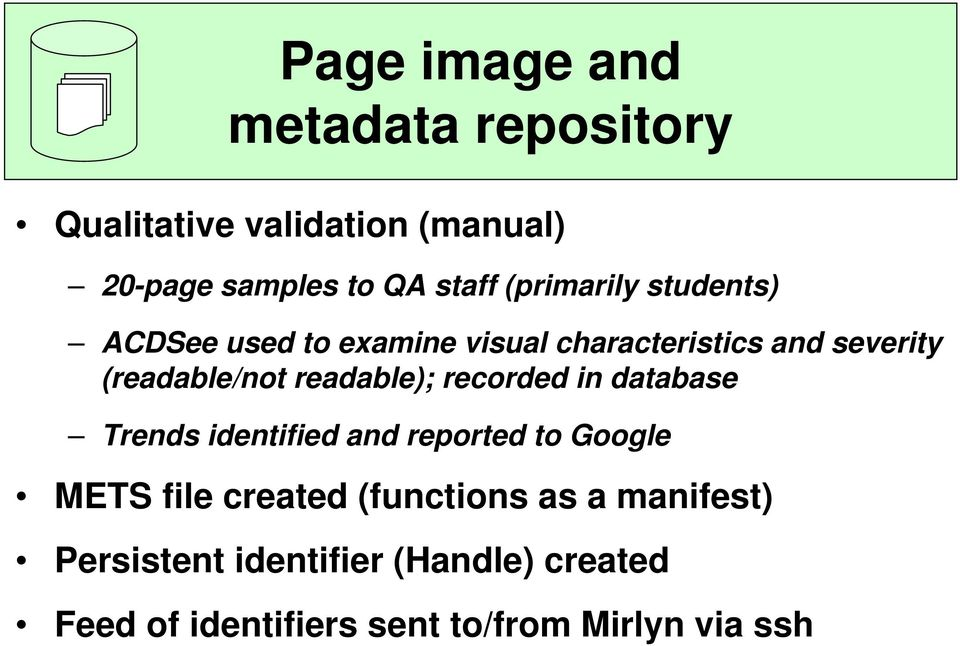 readable); recorded in database Trends identified and reported to Google METS file created