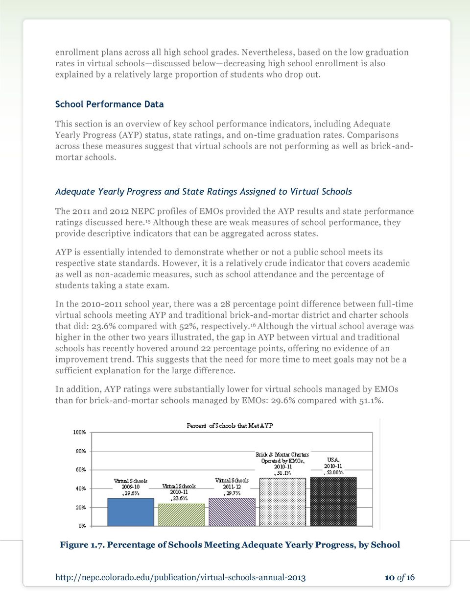 School Performance Data This section is an overview of key school performance indicators, including Adequate Yearly Progress (AYP) status, state ratings, and on-time graduation rates.