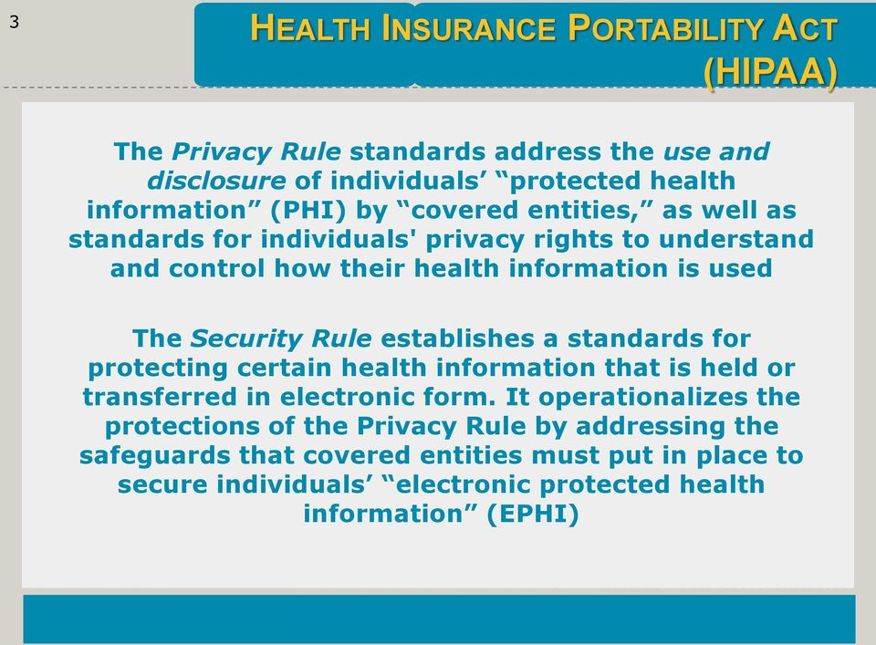 Rule establishes a standards for protecting certain health information that is held or transferred in electronic form.