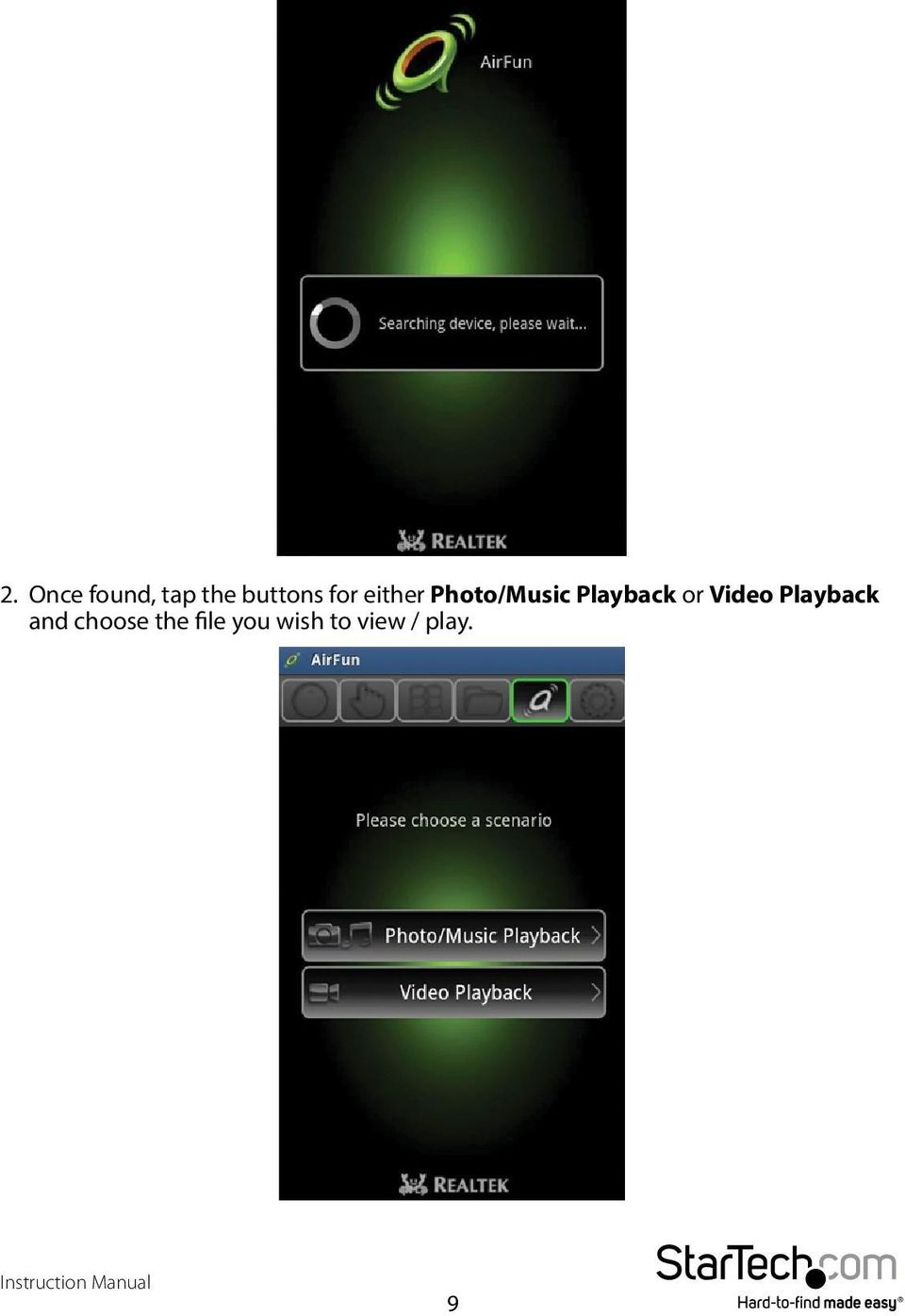 or Video Playback and choose