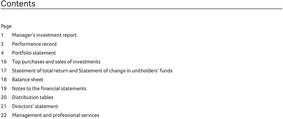 Statement of change in unitholders funds 18 Balance sheet 19 Notes to the financial