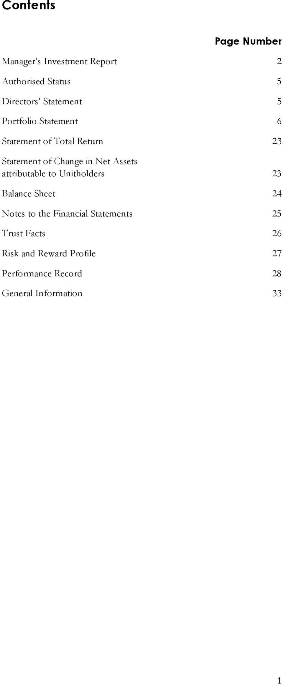 Net Assets attributable to Unitholders 23 Balance Sheet 24 Notes to the Financial