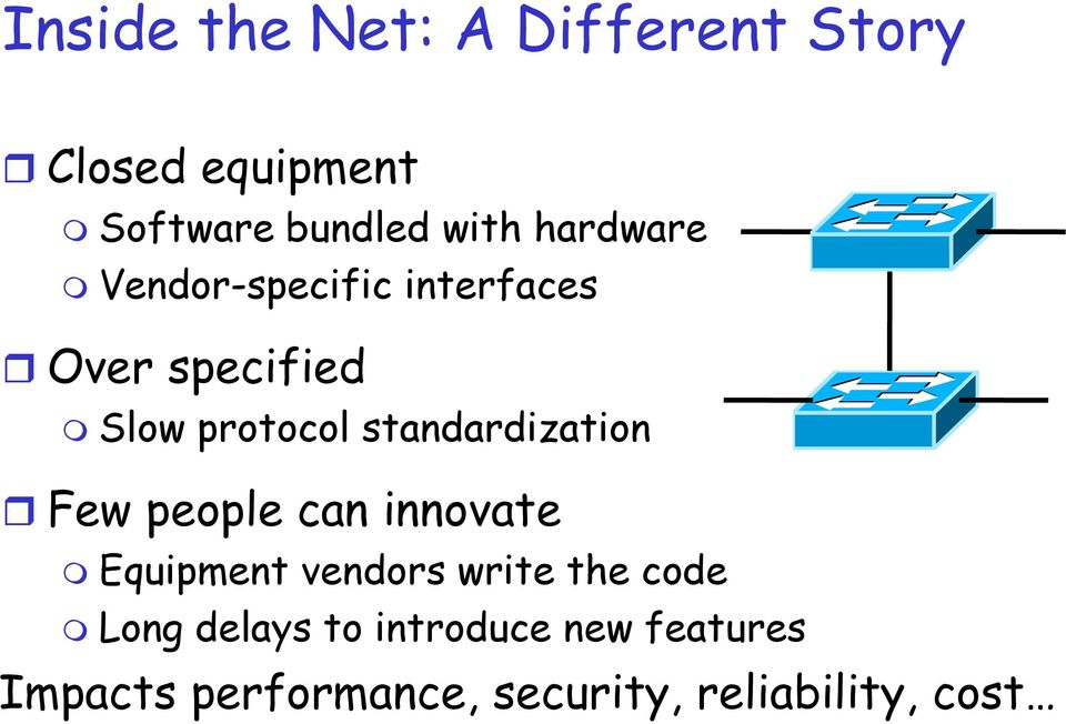 standardization Few people can innovate Equipment vendors write the code