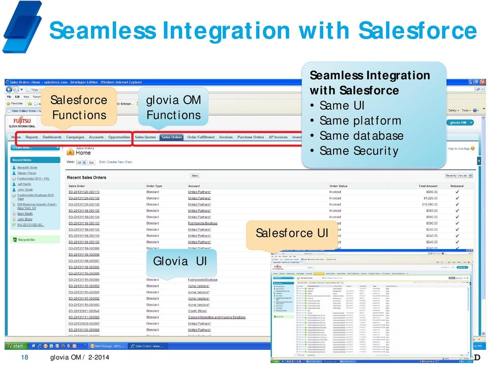 with Salesforce Same UI Same platform Same database