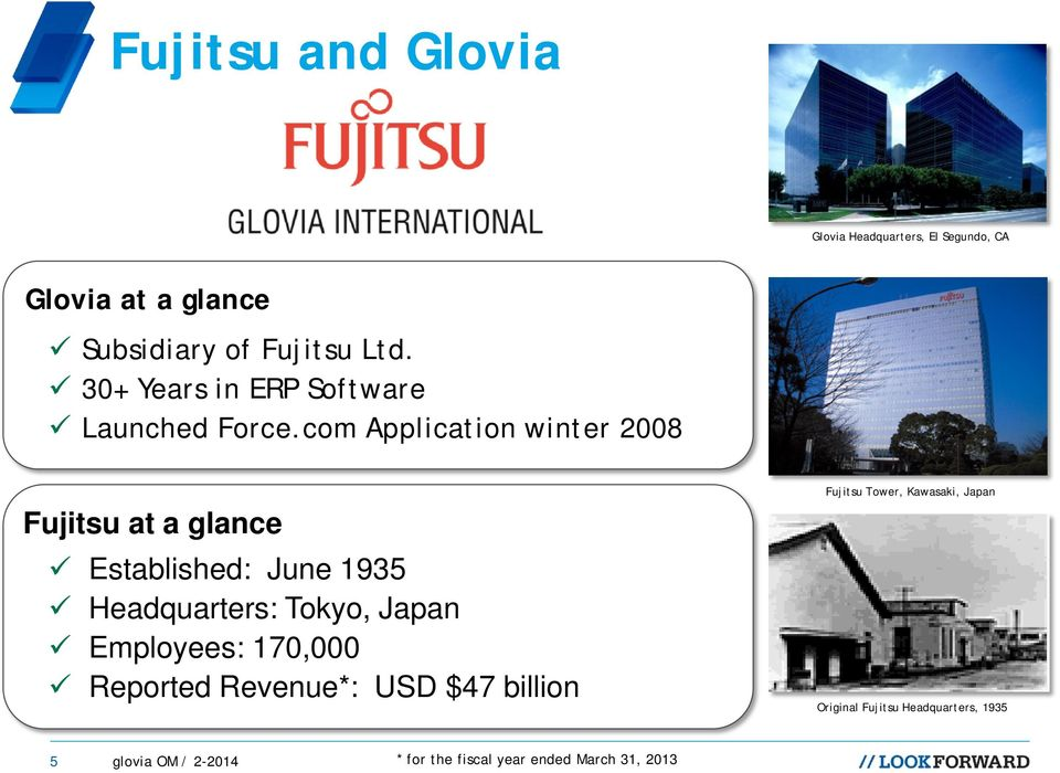 com Application winter 2008 Fujitsu at a glance Established: June 1935 Headquarters: Tokyo, Japan