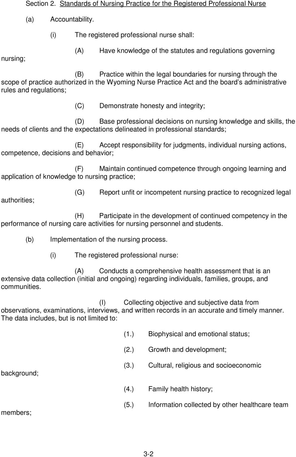 authorized in the Wyoming Nurse Practice Act and the board s administrative rules and regulations; (C) Demonstrate honesty and integrity; Base professional decisions on nursing knowledge and skills,
