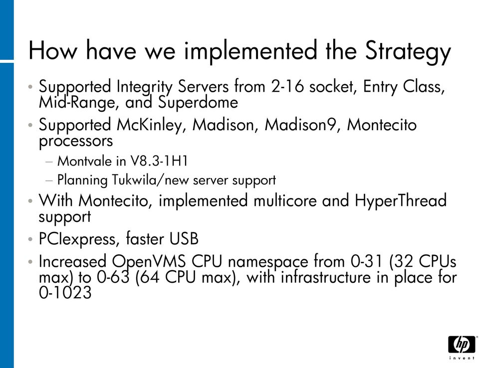 3-1H1 Planning Tukwila/new server support With Montecito, implemented multicore and HyperThread support
