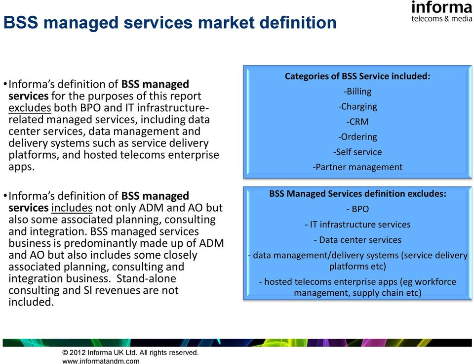 Informa s definition of BSS managed services includes not only ADM and AO but also some associated planning, consulting and integration.