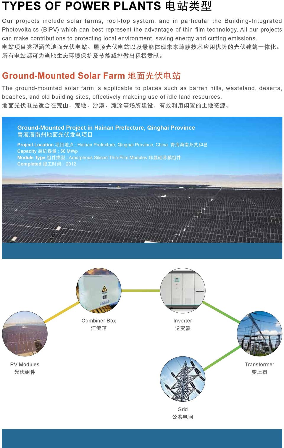 Ground-Mounted Solar Farm The ground-mounted solar farm is applicable to places such as barren hills, wasteland, deserts, beaches, and old building sites, effectively makeing use of idle land