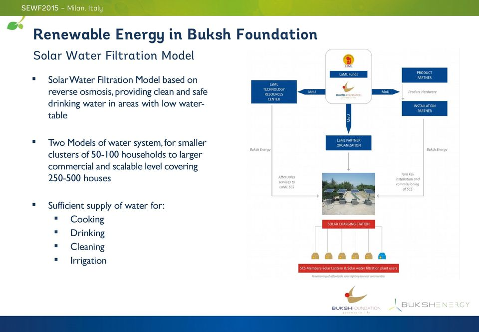 Two Models of water system, for smaller clusters of 50-100 households to larger commercial and