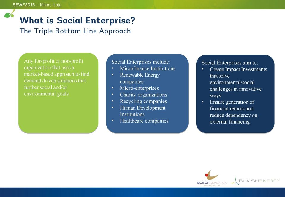 further social and/or environmental goals Social Enterprises include: Microfinance Institutions Renewable Energy companies Micro-enterprises Charity