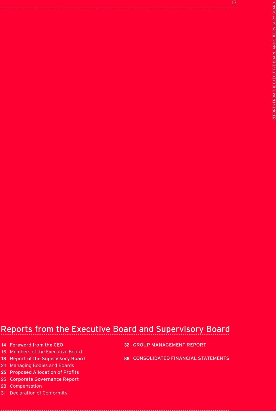 of the Supervisory Board Managing Bodies and Boards Proposed Allocation of Profits Corporate