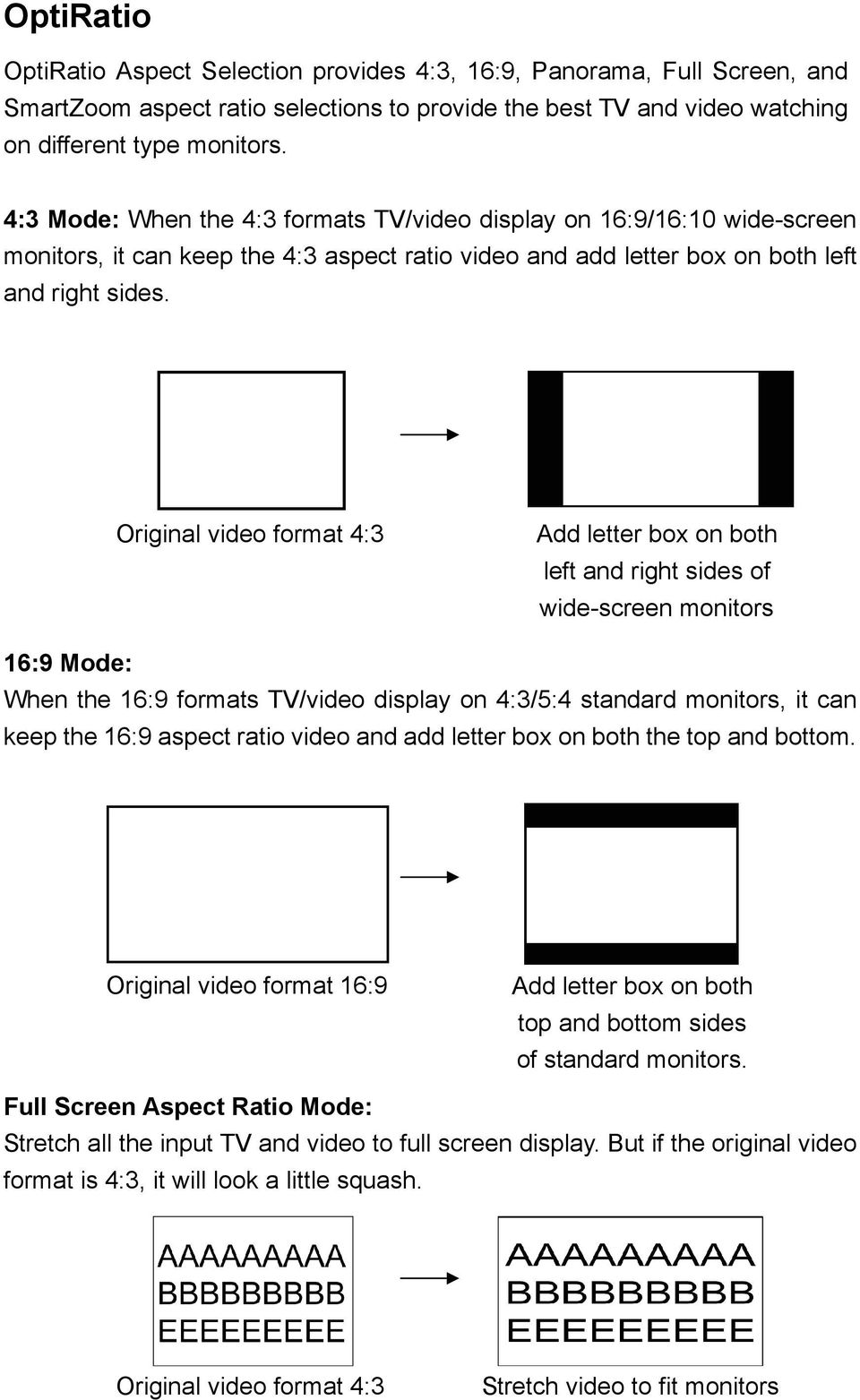 Original video format 4:3 Add letter box on both left and right sides of wide-screen monitors 16:9 Mode: When the 16:9 formats TV/video display on 4:3/5:4 standard monitors, it can keep the 16:9
