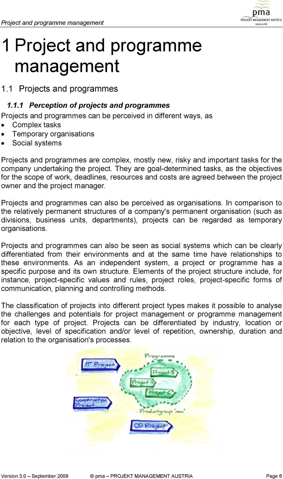 1 Projects and programmes 1.1.1 Perception of projects and programmes Projects and programmes can be perceived in different ways, as Complex tasks Temporary organisations Social systems Projects and