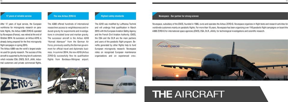Its successor, an Airbus A310, is already being prepared for the first microgravity flight campaigns in spring 2015. The Airbus A300 was the world s largest airplane used for gravity research.