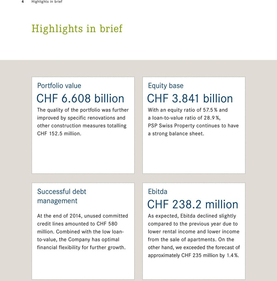 Successful debt management At the end of 2014, unused committed credit lines amounted to CHF 580 million.