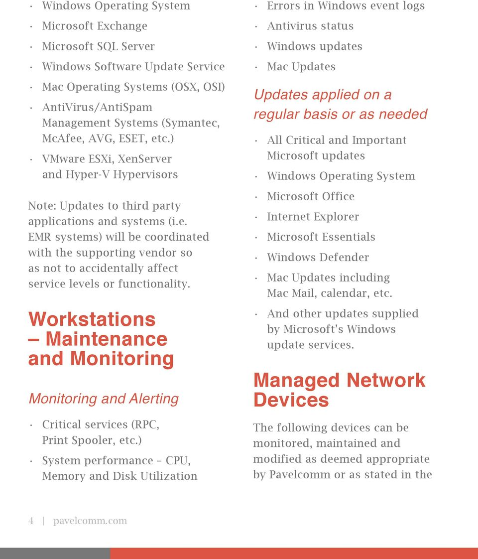 Workstations Maintenance and Monitoring Monitoring and Alerting Critical services (RPC, Print Spooler, etc.