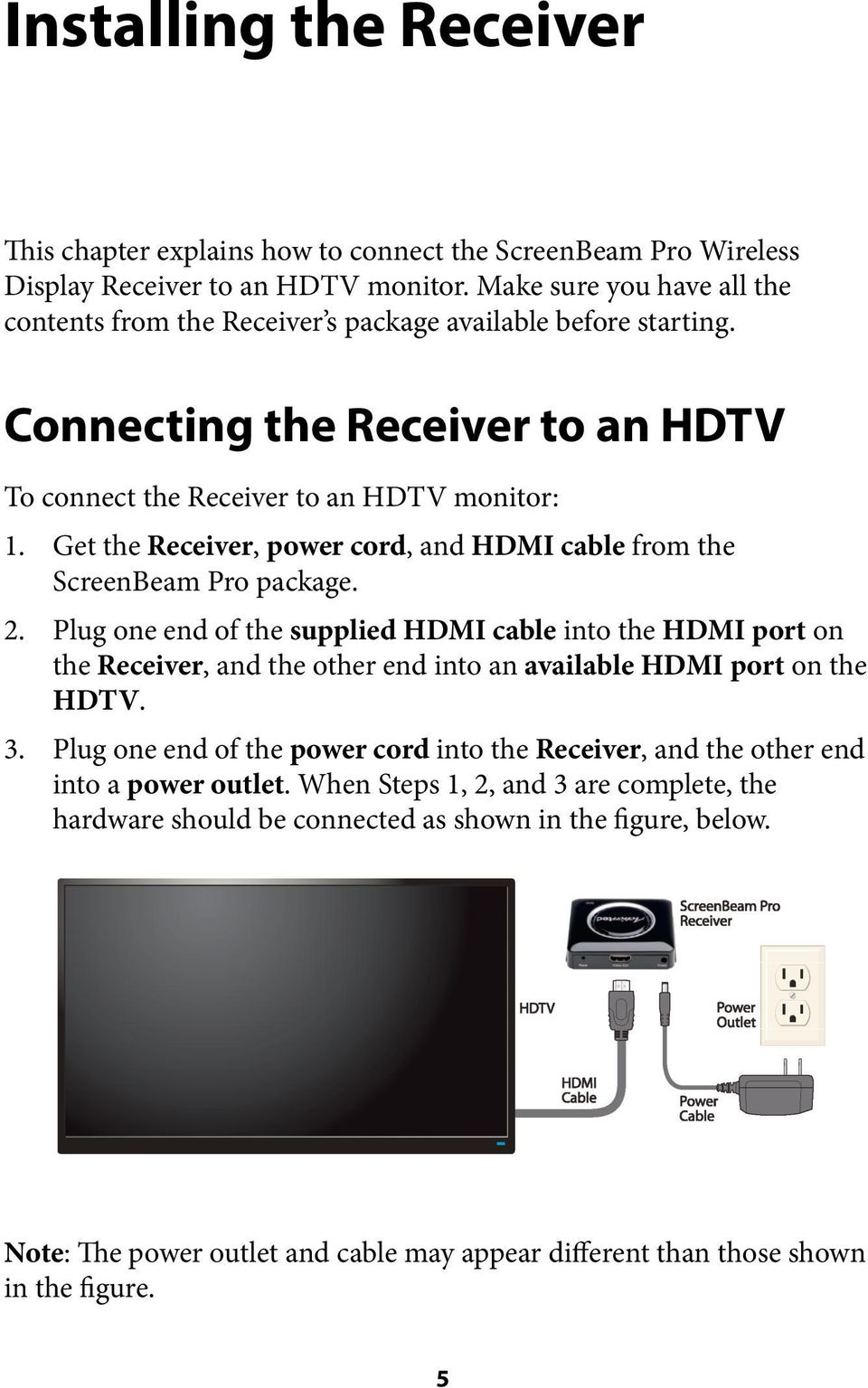 Get the Receiver, power cord, and HDMI cable from the ScreenBeam Pro package. 2.
