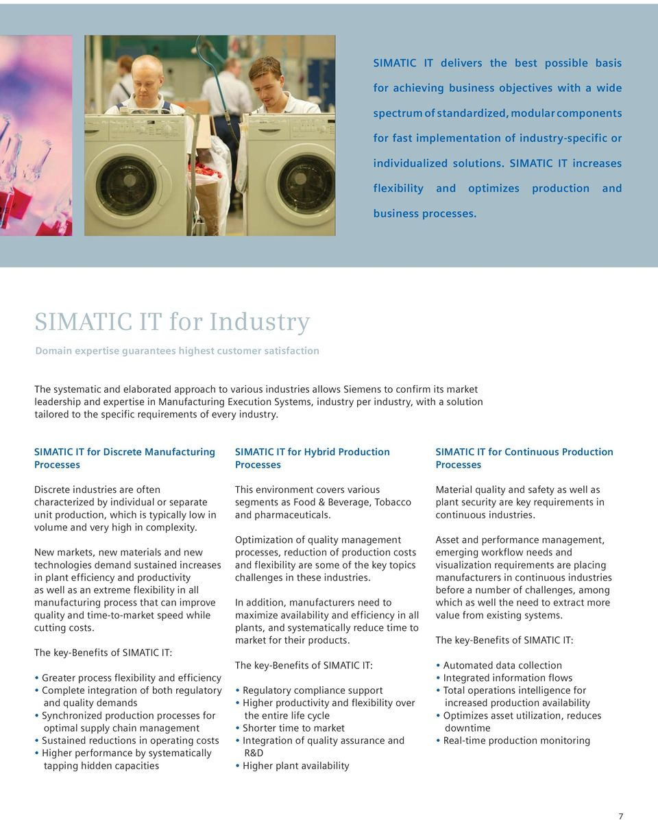 SIMATIC IT for Industry Domain expertise guarantees highest customer satisfaction The systematic and elaborated approach to various industries allows Siemens to confirm its market leadership and