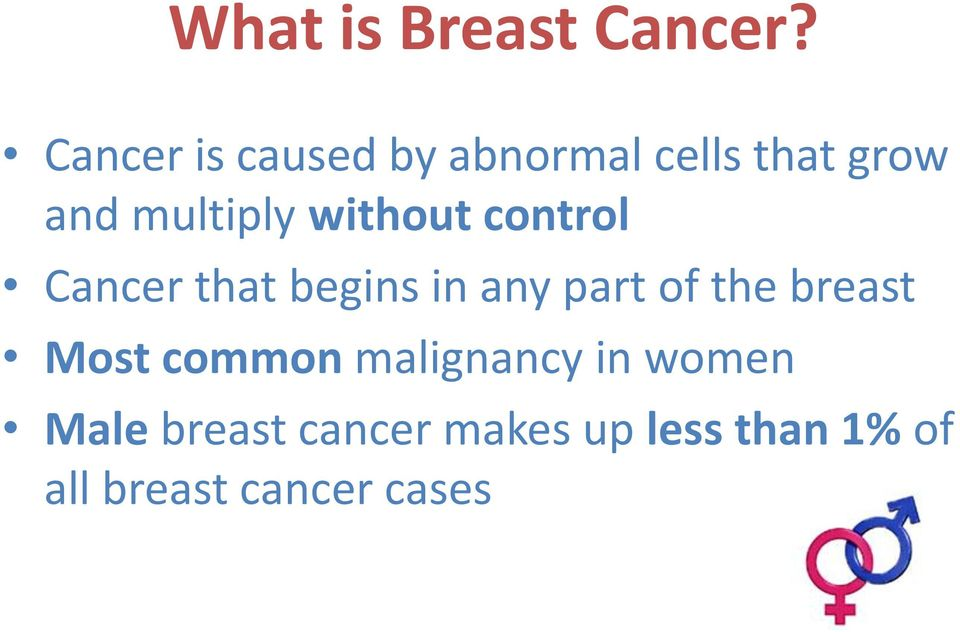 without control Cancer that begins in any part of the breast