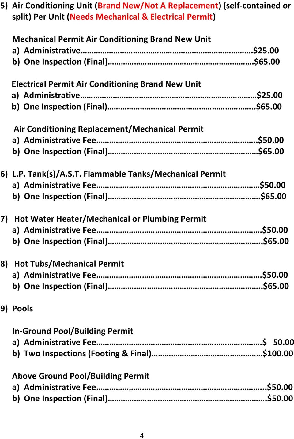 .$50.00 b) One Inspection (Final) $65.00 6) L.P. Tank(s)/A.S.T. Flammable Tanks/Mechanical Permit a) Administrative Fee $50.00 b) One Inspection (Final).$65.00 7) Hot Water Heater/Mechanical or Plumbing Permit a) Administrative Fee.