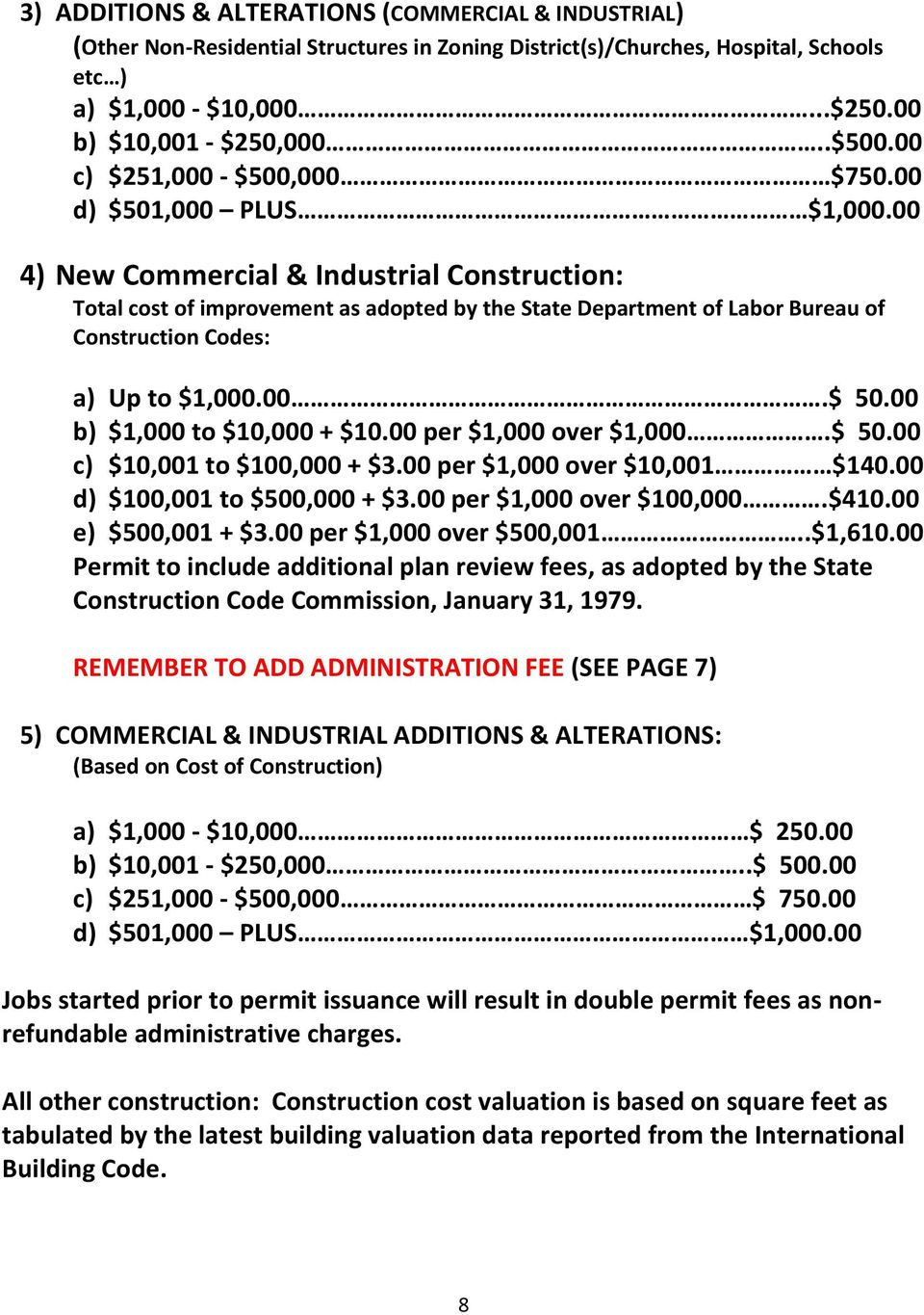 00 4) New Commercial & Industrial Construction: Total cost of improvement as adopted by the State Department of Labor Bureau of Construction Codes: a) Up to $1,000.00.$ 50.