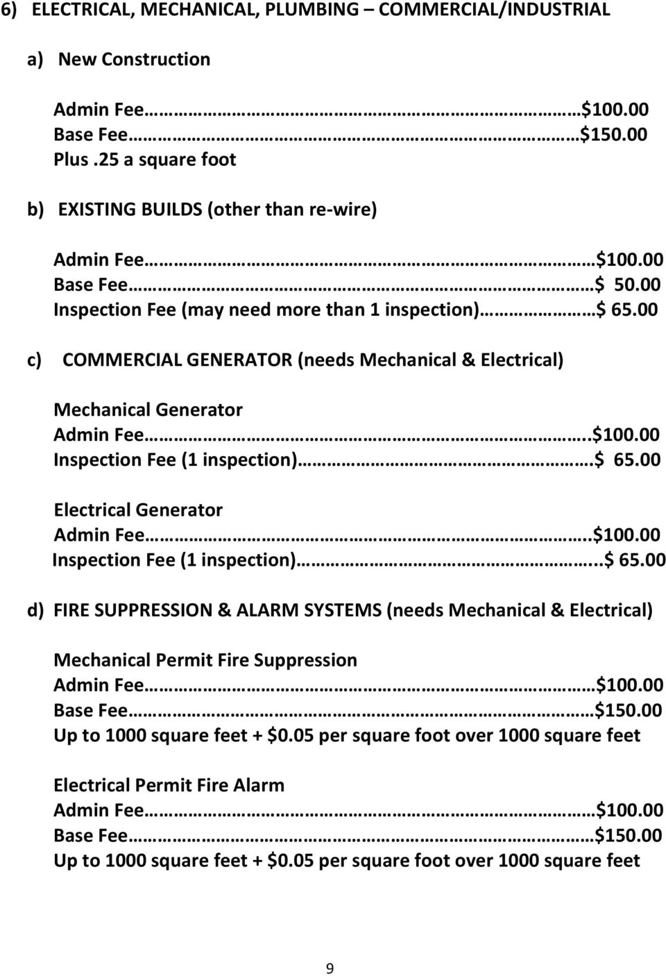 00 Inspection Fee (1 inspection).$ 65.00 Electrical Generator Admin Fee..$100.00 Inspection Fee (1 inspection)...$ 65.00 d) FIRE SUPPRESSION & ALARM SYSTEMS (needs Mechanical & Electrical) Mechanical Permit Fire Suppression Admin Fee $100.