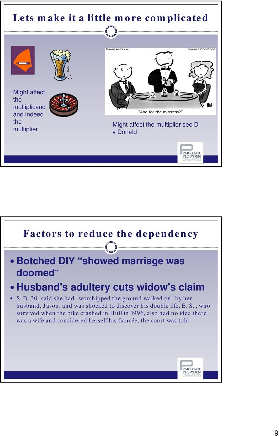 Y showed marriage was doomed Husband's adultery cuts widow's claim S. D.