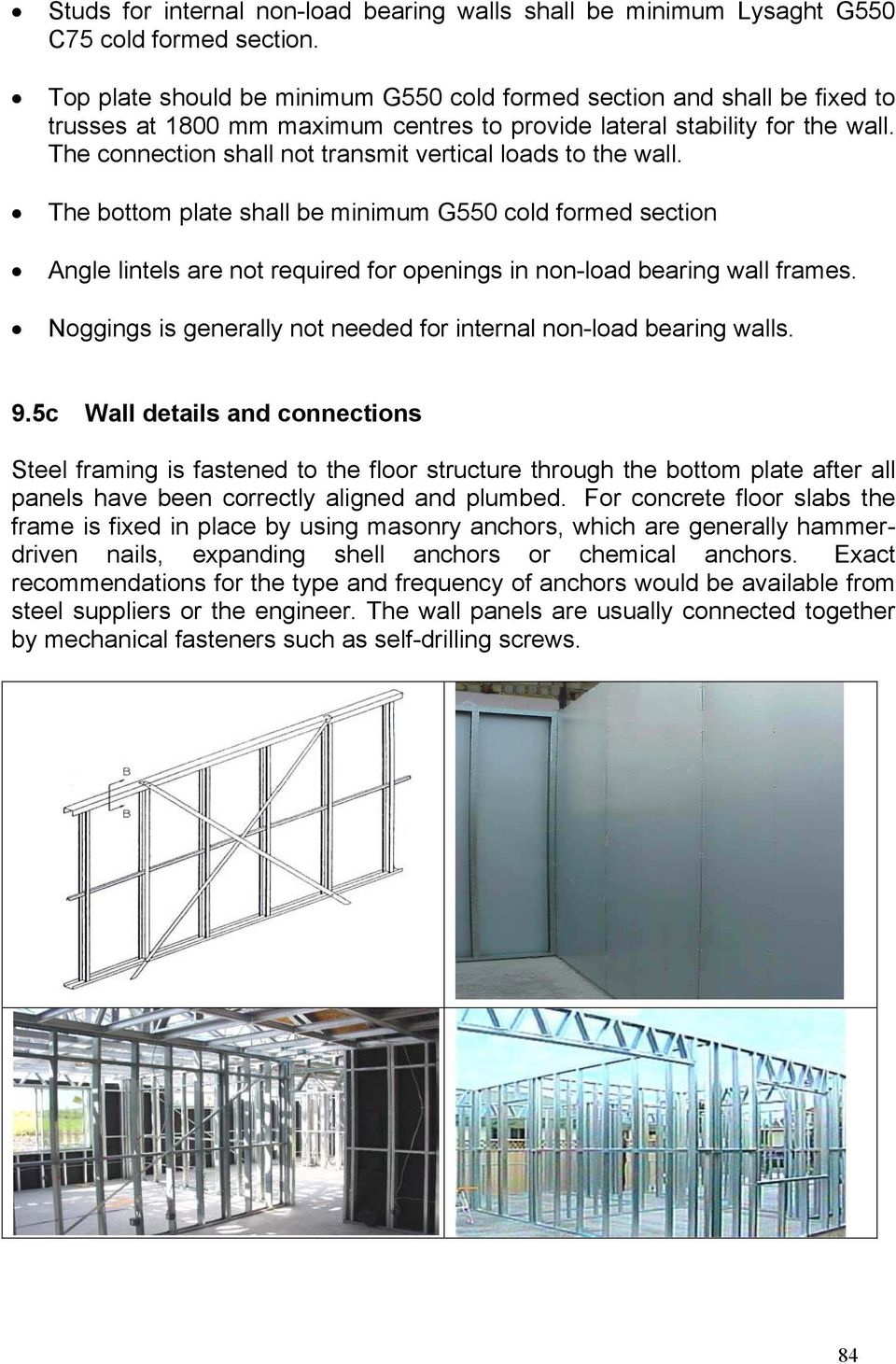 The connection shall not transmit vertical loads to the wall. The bottom plate shall be minimum G550 cold formed section Angle lintels are not required for openings in non-load bearing wall frames.