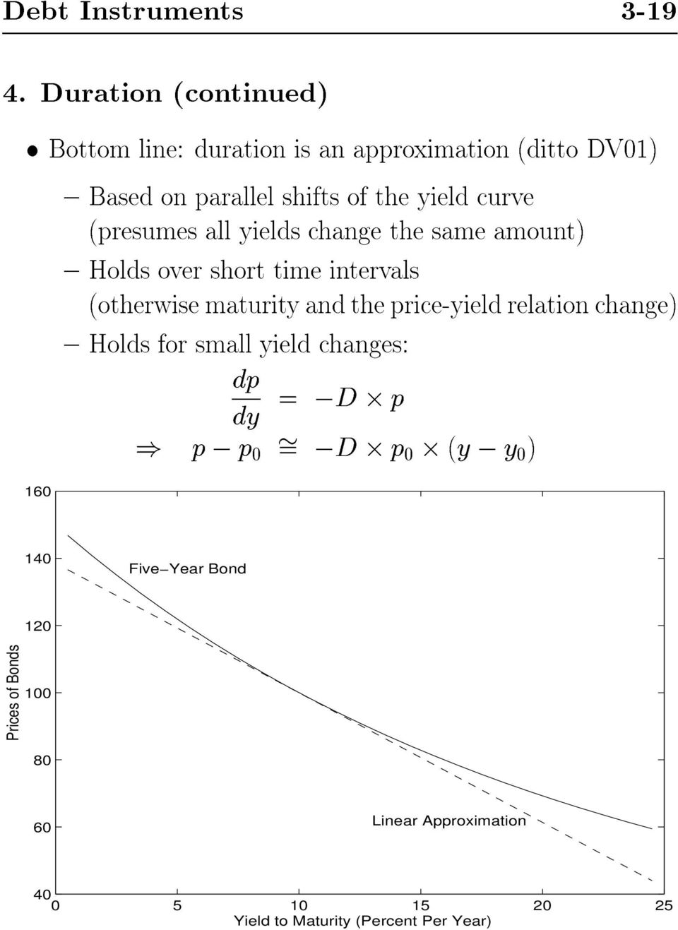 curve (presumes all yields change the same amount) { Holds over short time intervals (otherwise maturity and the