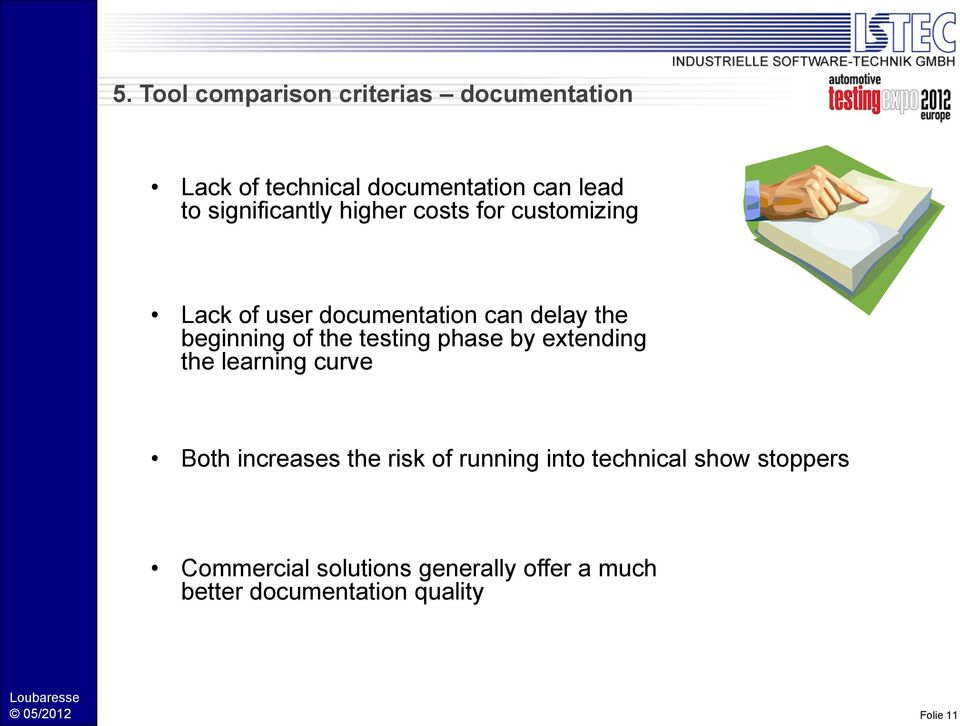 of the testing phase by extending the learning curve Both increases the risk of running into