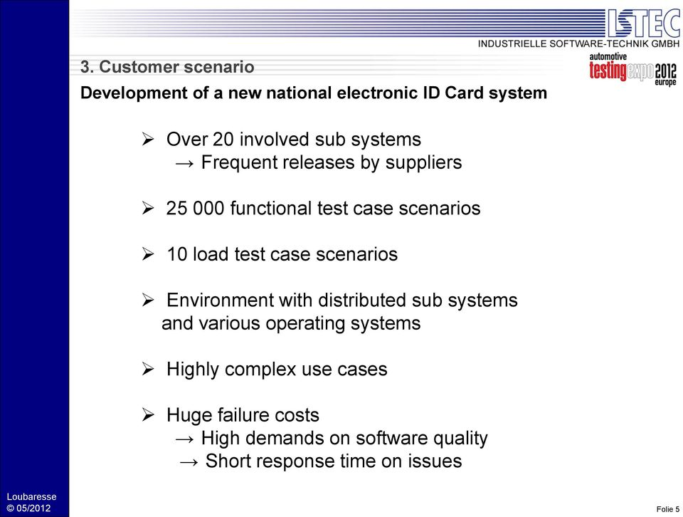case scenarios Environment with distributed sub systems and various operating systems Highly