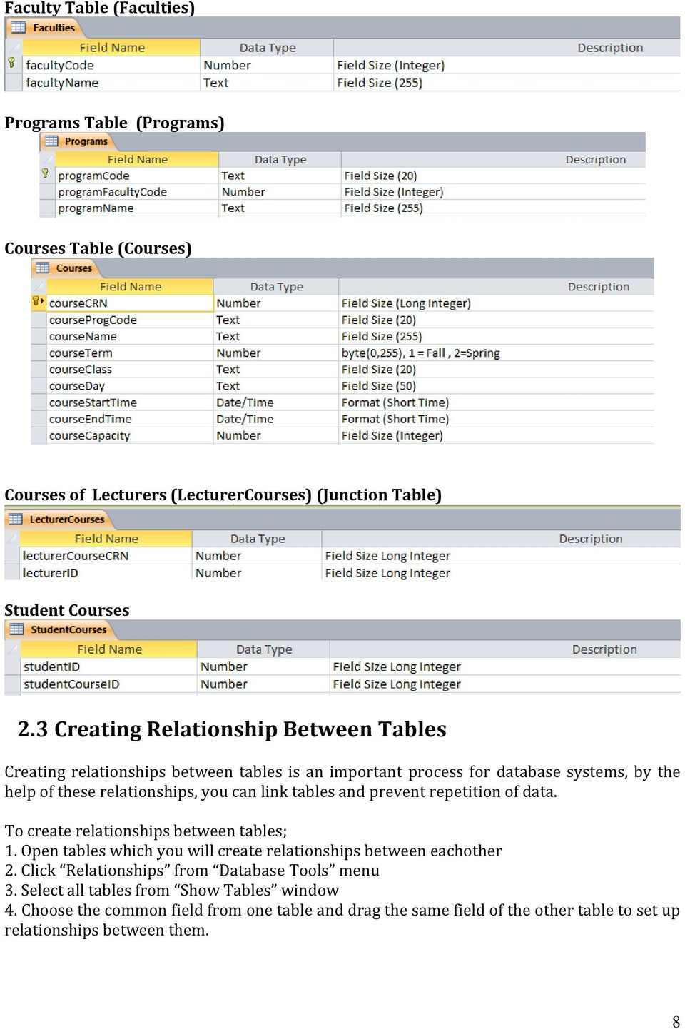 tables and prevent repetition of data. To create relationships between tables; 1. Open tables which you will create relationships between eachother 2.