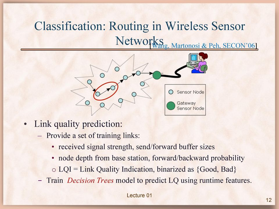 buffer sizes node depth from base station, forward/backward probability o LQI = Link Quality
