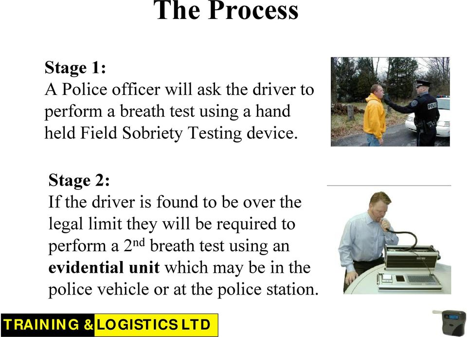 Stage 2: If the driver is found to be over the legal limit they will be required