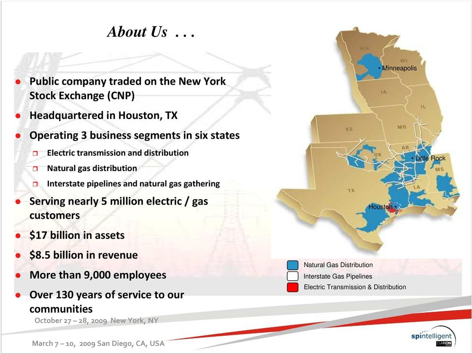 transmission and distribution Natural gas distribution Interstate pipelines and natural gas gathering Serving nearly 5 million electric / gas