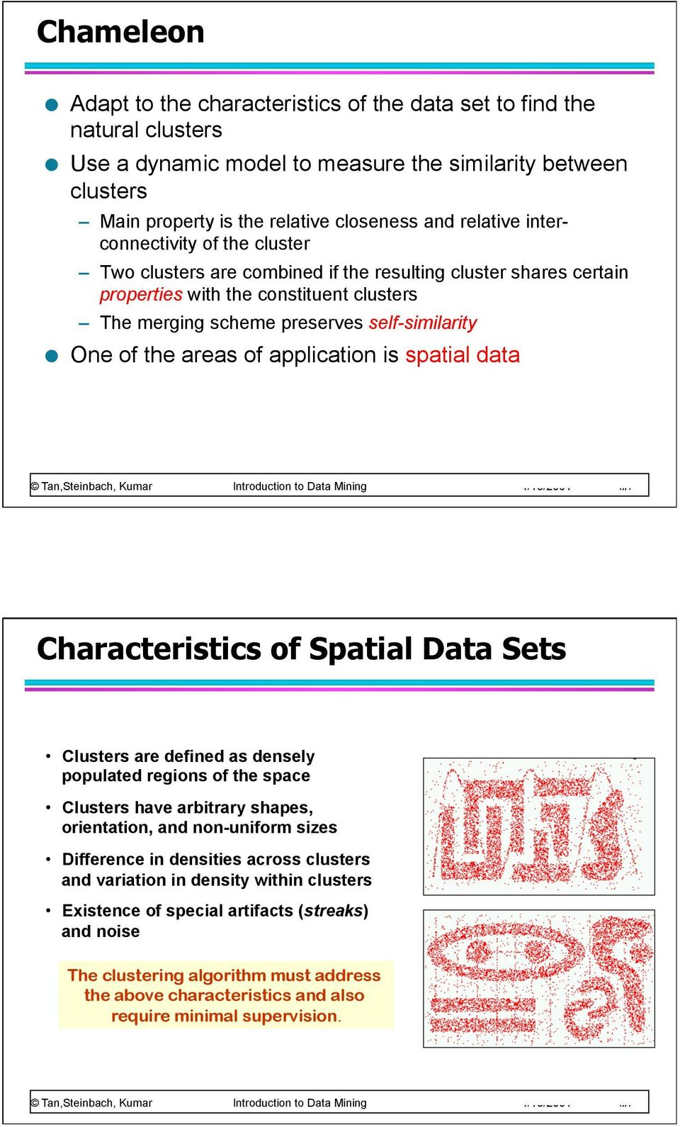areas of application is spatial data Characteristics of Spatial Data Sets Clusters are defined as densely populated regions of the space Clusters have arbitrary shapes, orientation, and non-uniform