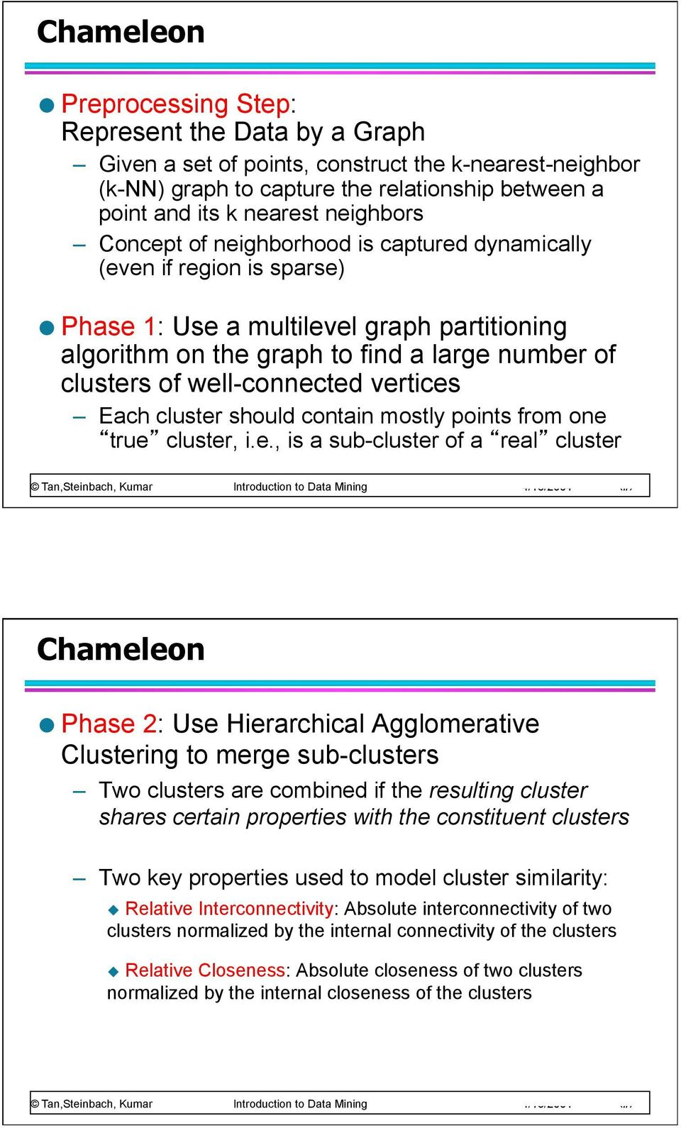 well-connected vertices Each cluster should contain mostly points from one true cluster, i.e., is a sub-cluster of a real cluster Chameleon Phase 2: Use Hierarchical Agglomerative Clustering to merge