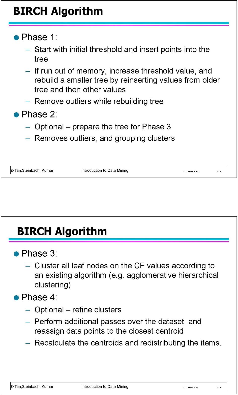 grouping clusters BIRCH Algorithm Phase 3: Cluster all leaf nodes on the CF values according to an existing algorithm (e.g. agglomerative hierarchical clustering)