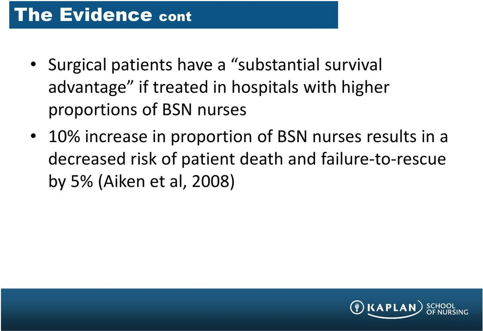 BSN nurses 10% increase in proportion of BSN nurses results in a