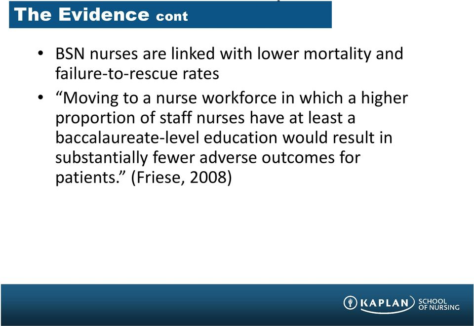 proportion of staff nurses have at least a baccalaureate-level education