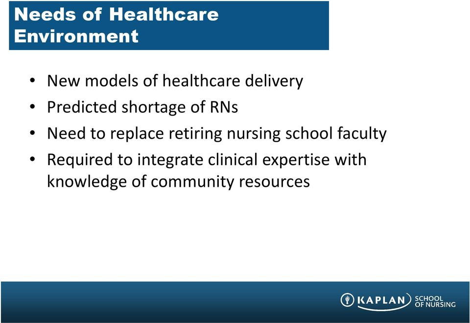 replace retiring nursing school faculty Required to