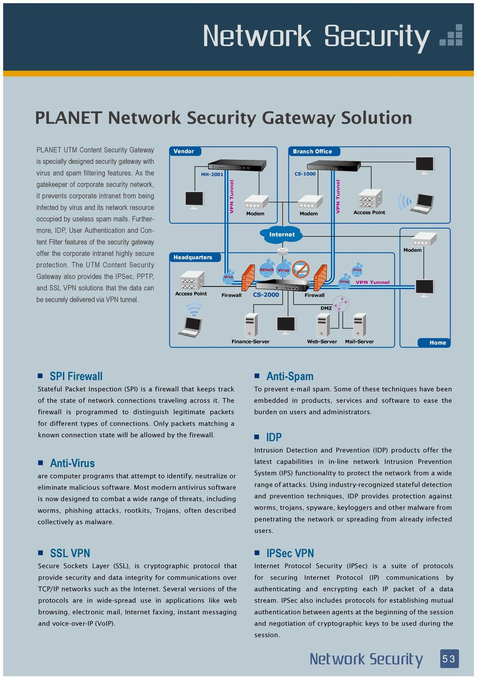 Further- Access Point more, IDP, User Authentication and Content Filter features of the security gateway offer the corporate intranet highly secure protection.