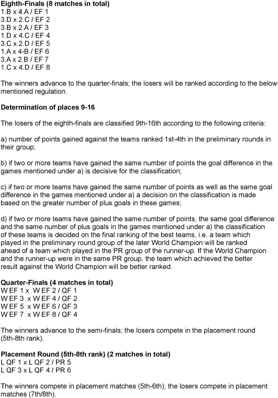 Determination of places 9-16 The losers of the eighth-finals are classified 9th-16th according to the following criteria: a) number of points gained against the teams ranked 1st-4th in the