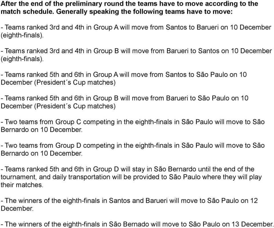 - Teams ranked 3rd and 4th in Group B will move from Barueri to Santos on 10 December (eighth-finals).