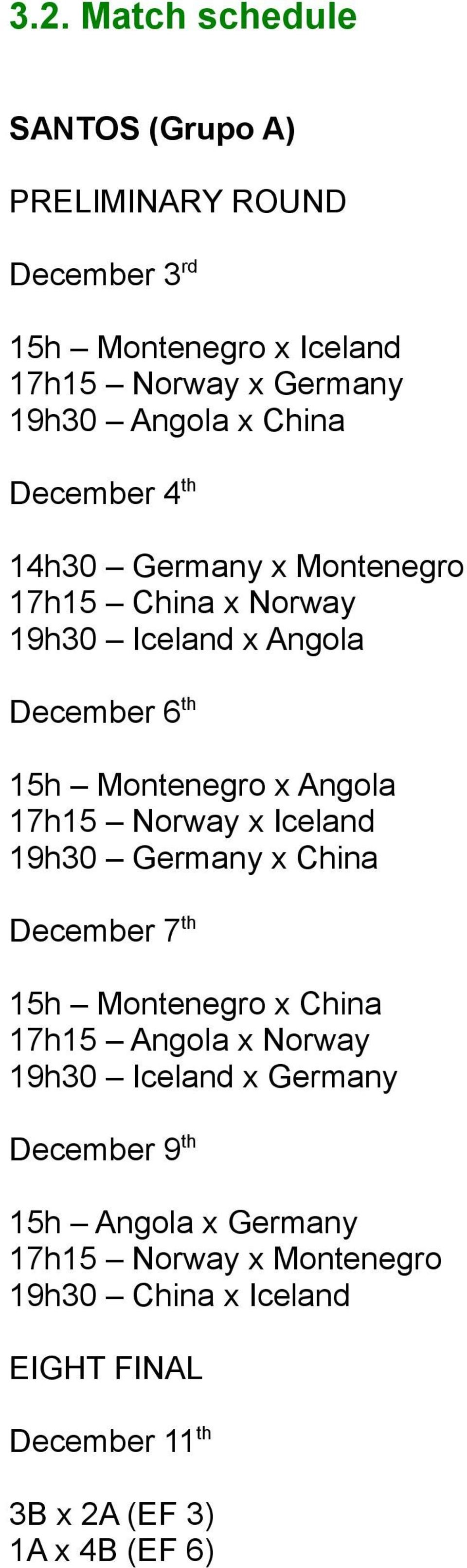 17h15 Norway x Iceland 19h30 Germany x China December 7 th 15h Montenegro x China 17h15 Angola x Norway 19h30 Iceland x Germany