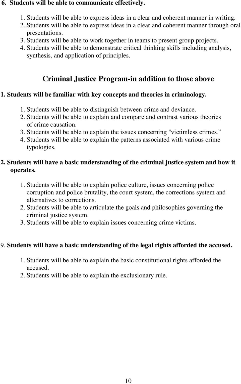 Students will be able to demonstrate critical thinking skills including analysis, synthesis, and application of principles. Criminal Justice Program-in addition to those above 1.