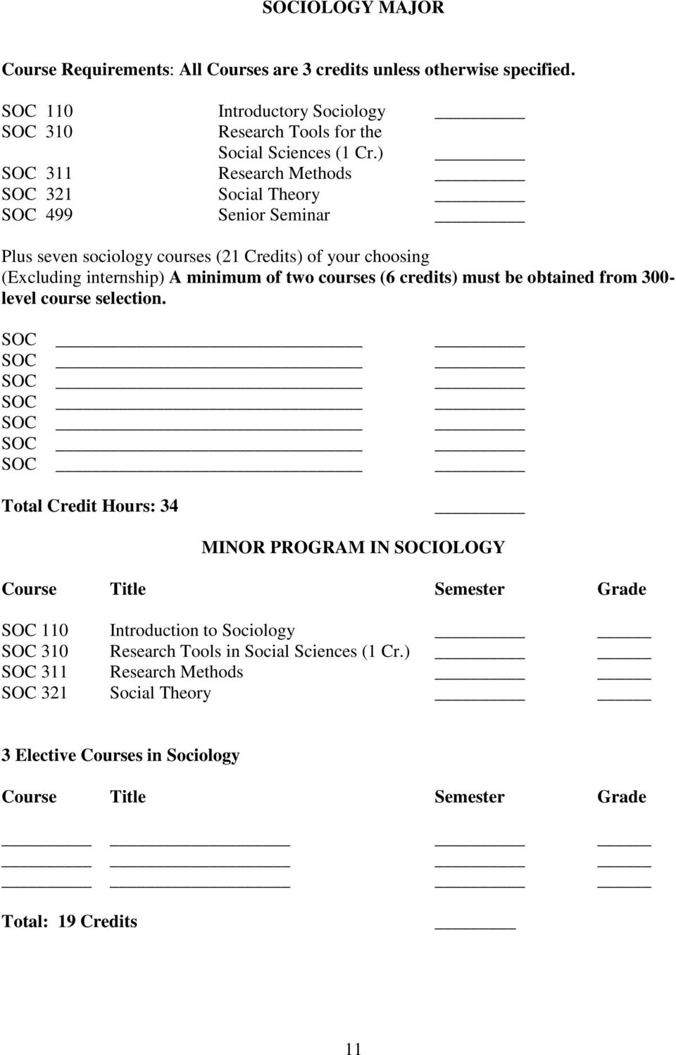 credits) must be obtained from 300- level course selection.