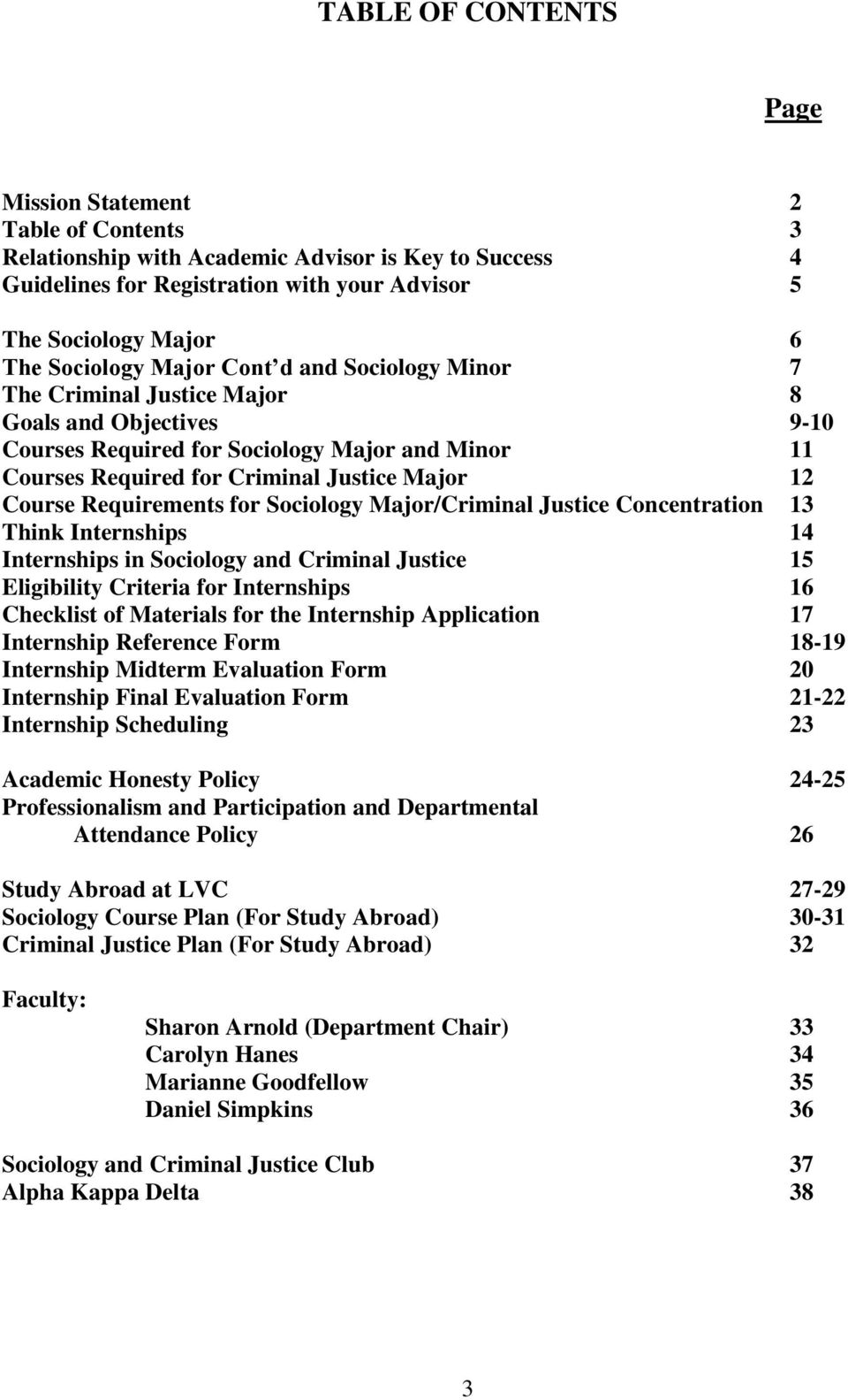 Course Requirements for Sociology Major/Criminal Justice Concentration 13 Think Internships 14 Internships in Sociology and Criminal Justice 15 Eligibility Criteria for Internships 16 Checklist of